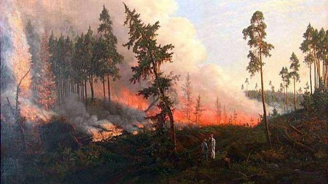 Викентий Дмоховский. Лесной пожар. 1860