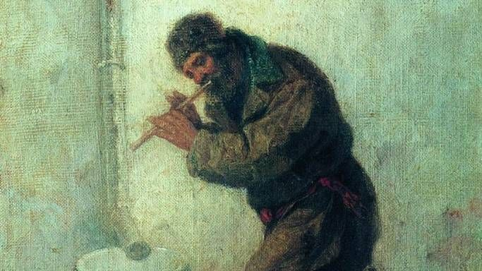 Леонид Соломаткин. Нужда скачет, нужда плачет, нужда песенки поет (фрагмент). 1870.