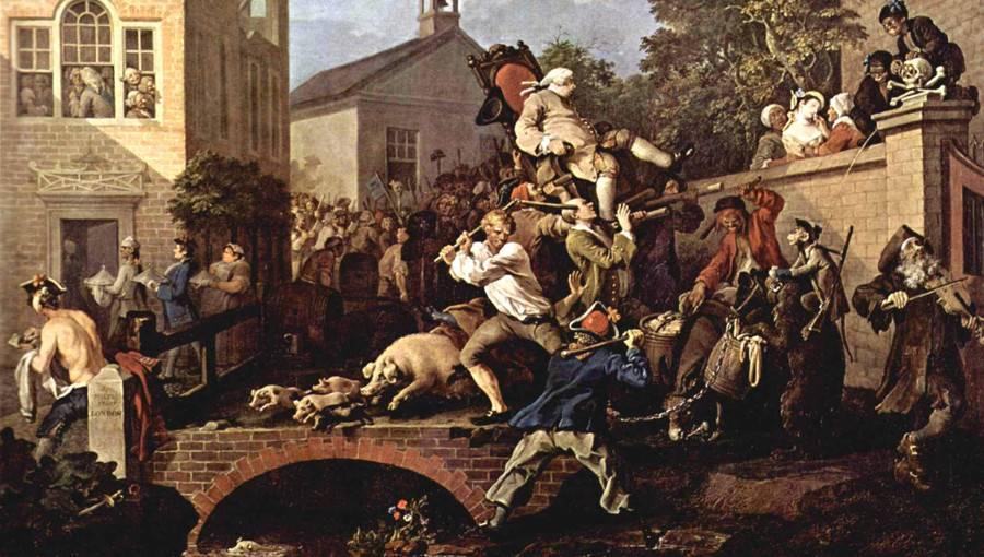 Уильям Хогарт. Триумф избранных в парламент (фрагмент). 1754