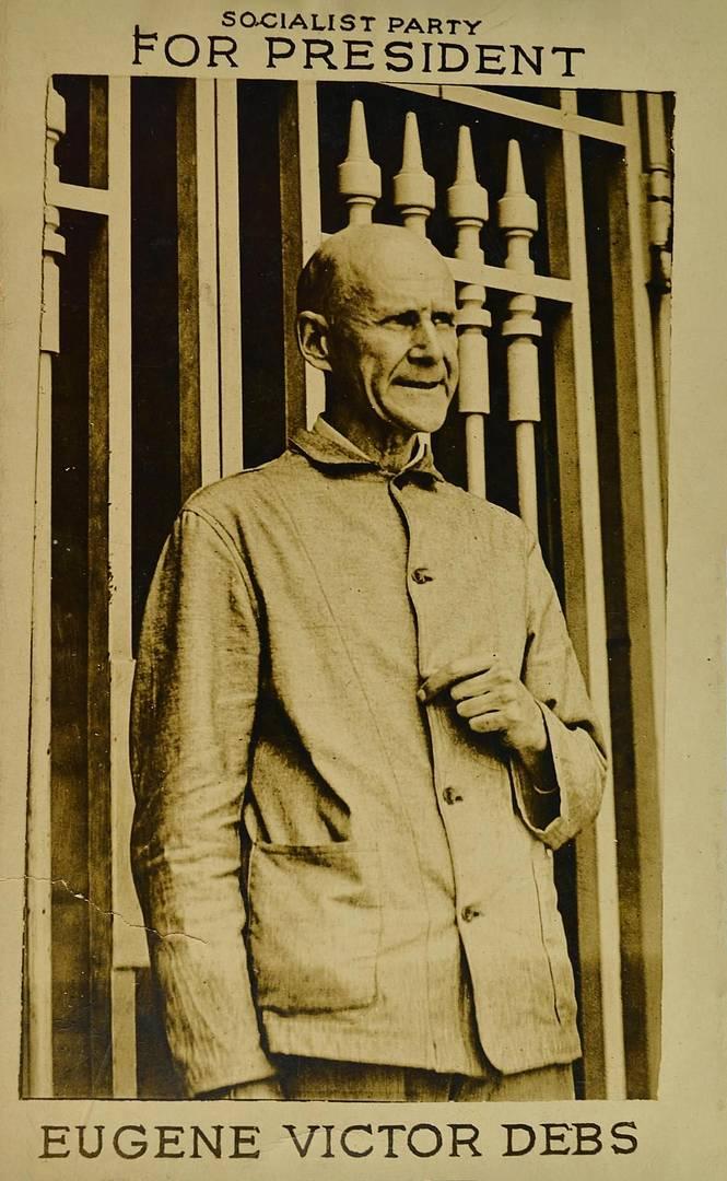 Пропагандистская открытка с Юджином Дебсом. 1920-е