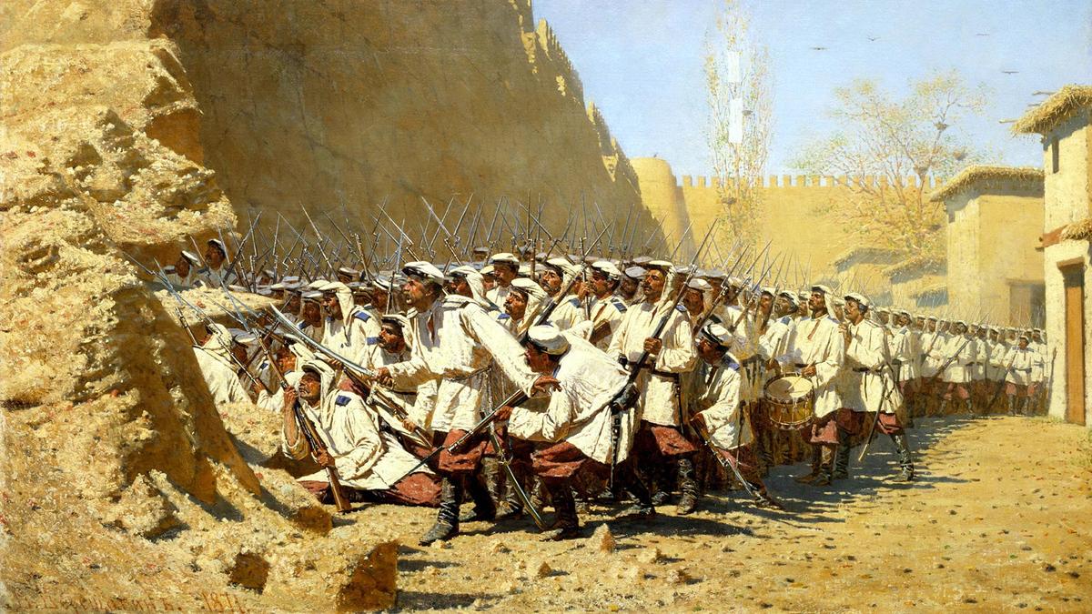 Василий Верещагин. У крепостной стены (Пусть войдут). 1872