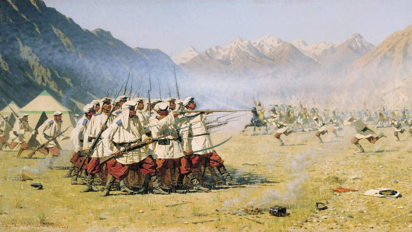 Василий Верещагин. Нападают врасплох (фрагмент). 1871