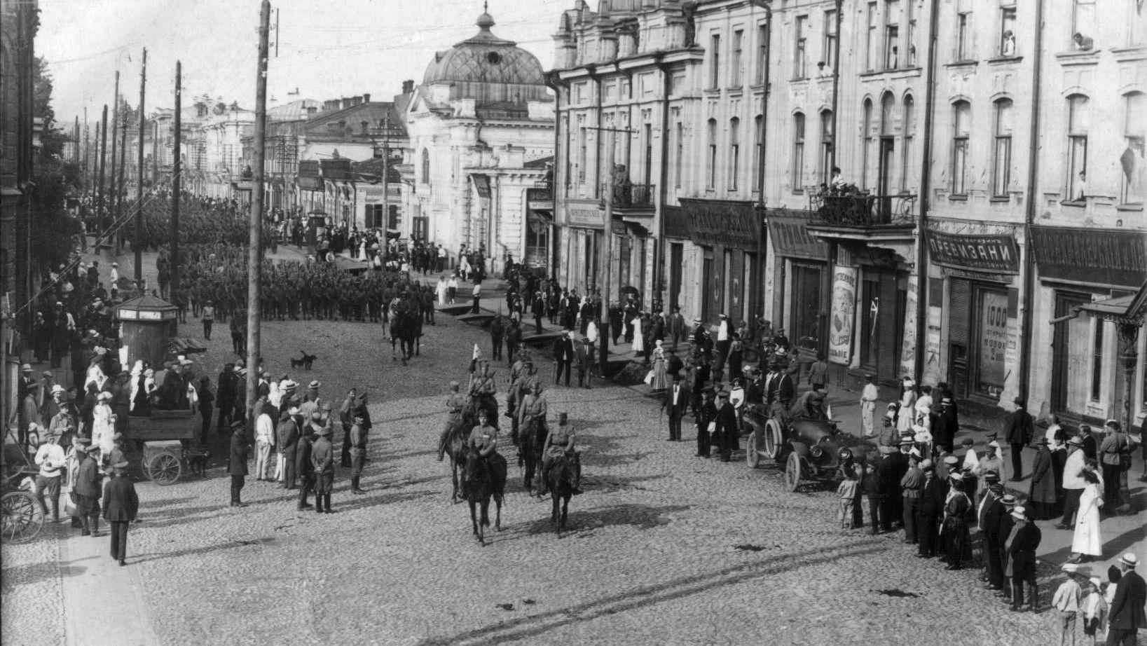 г. Иркутск. Чешско-словацкие войска на Большой улице. 28 июля 1918