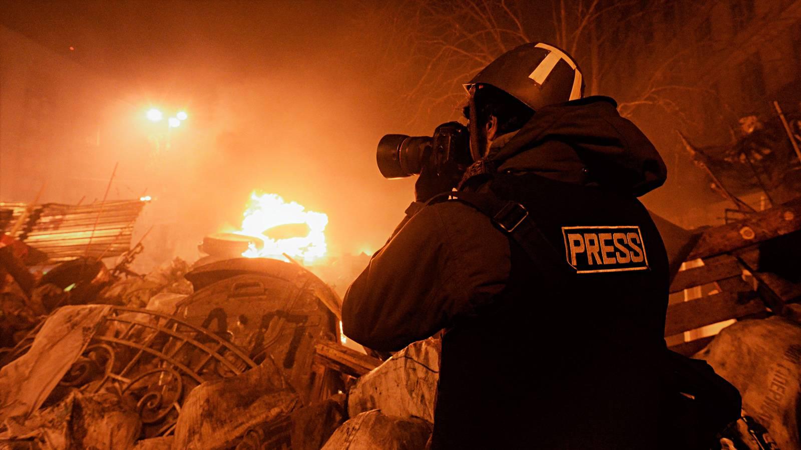 Журналист на майдане в Киеве
