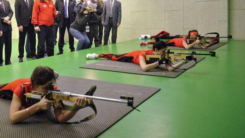Российские биатлонисты на тренировке