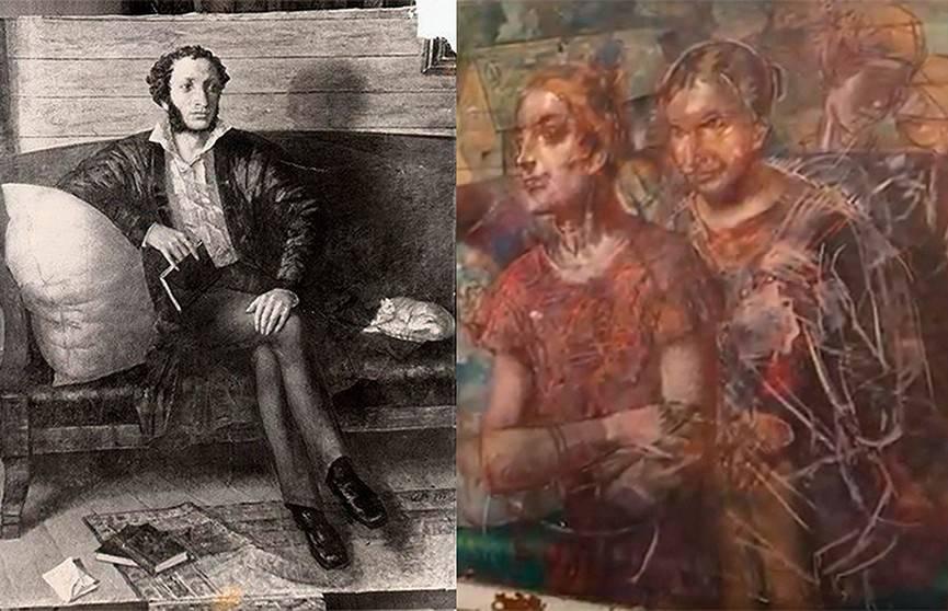 Портрет Пушкина под картиной