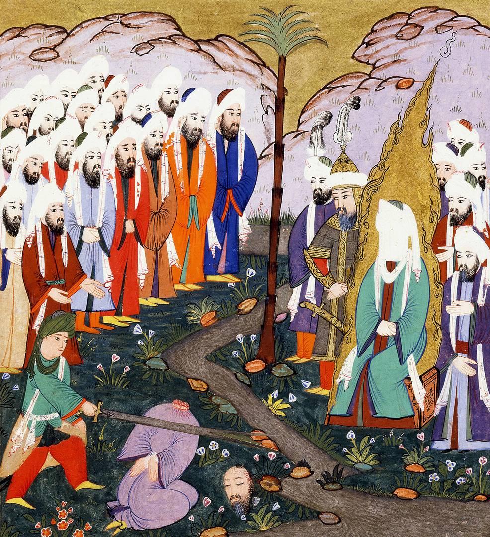 Али отрубает голову ан-Надру ибн аль-Харису в присутствии Мухаммеда. Ок. 1594