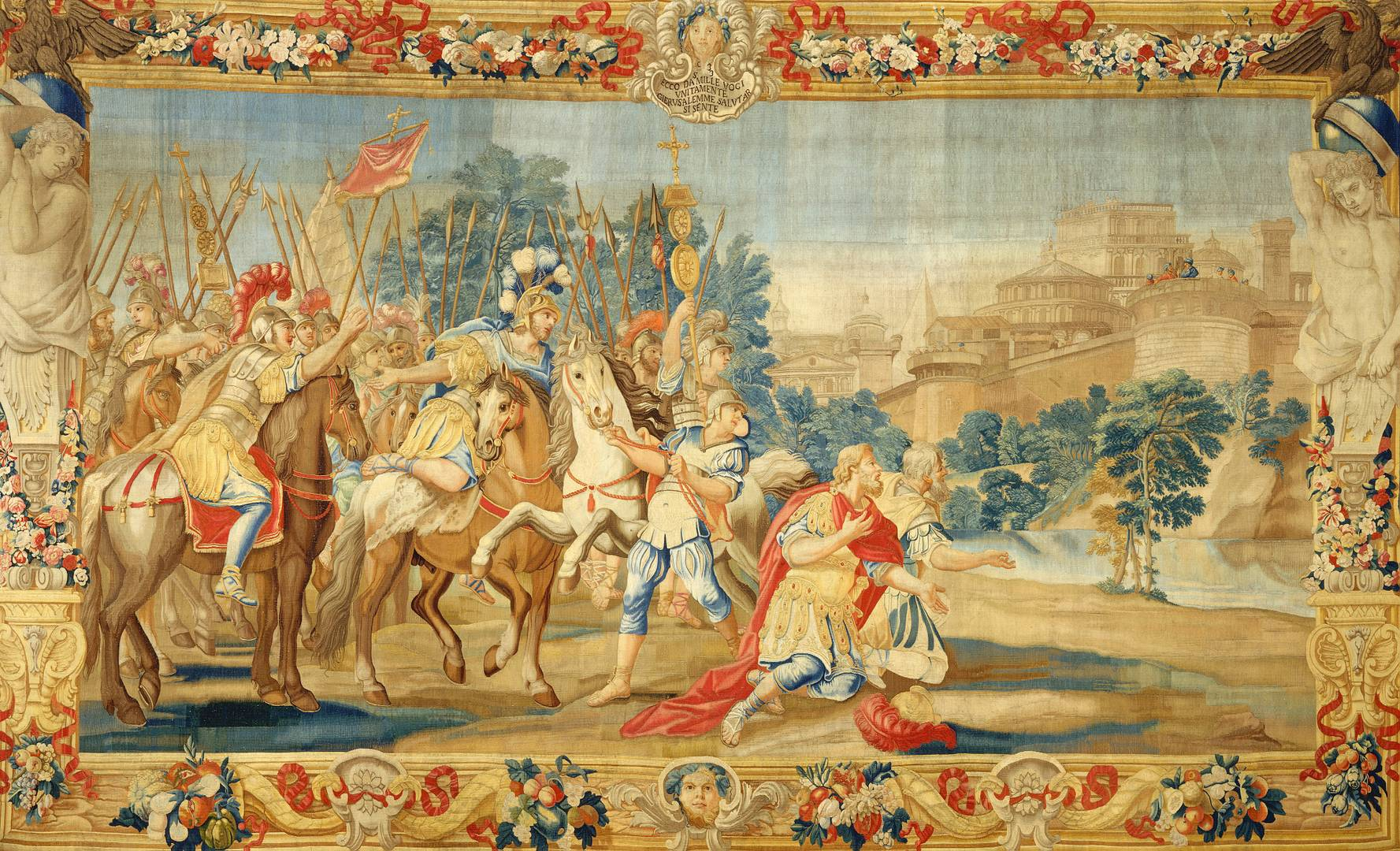 По эскизу Доменико Парадизи. Крестоносцы дошли до Иерусалима. Рисунок около 1689–1793, вышивка 1732–1739