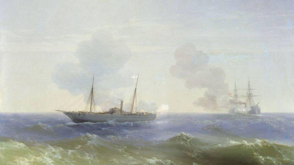 И.К. Айвазовский. Бой парохода «Веста» с турецким броненосцем «Фехти-Буленд» в Чёрном море 11 июля 1877 года (фрагмент)
