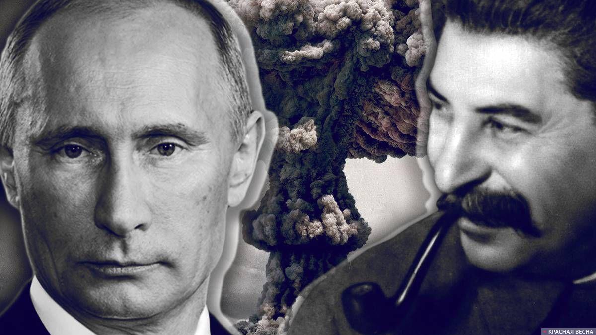 В.В Путин и И.В Сталин