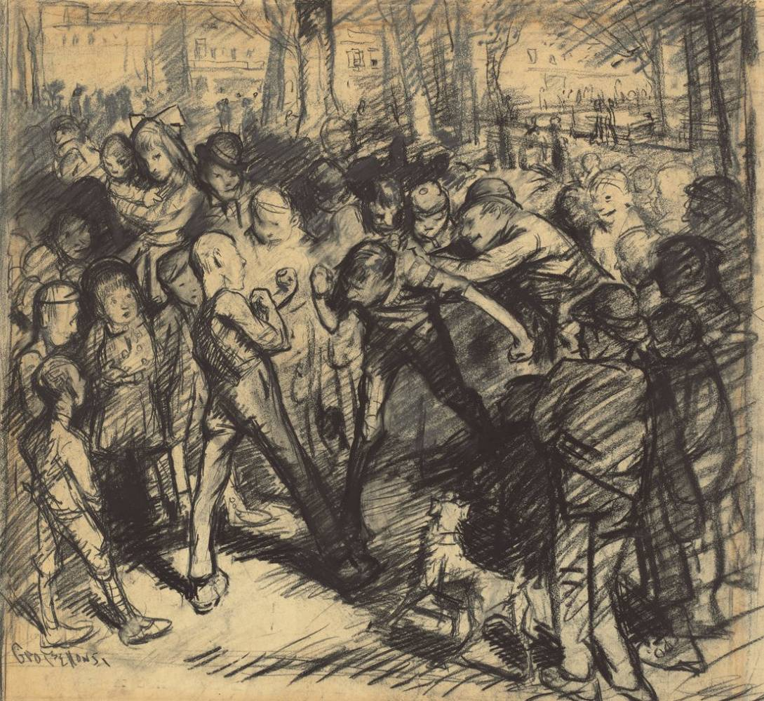 Джордж Уэсли Беллоуз. Уличная драка. 1907