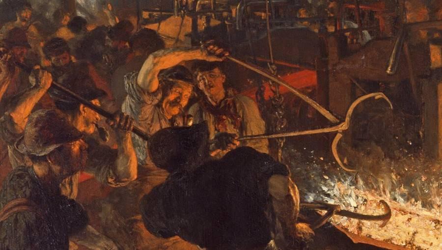 Адольф фон Менцель. Железопрокатный завод(фрагмент). 1875