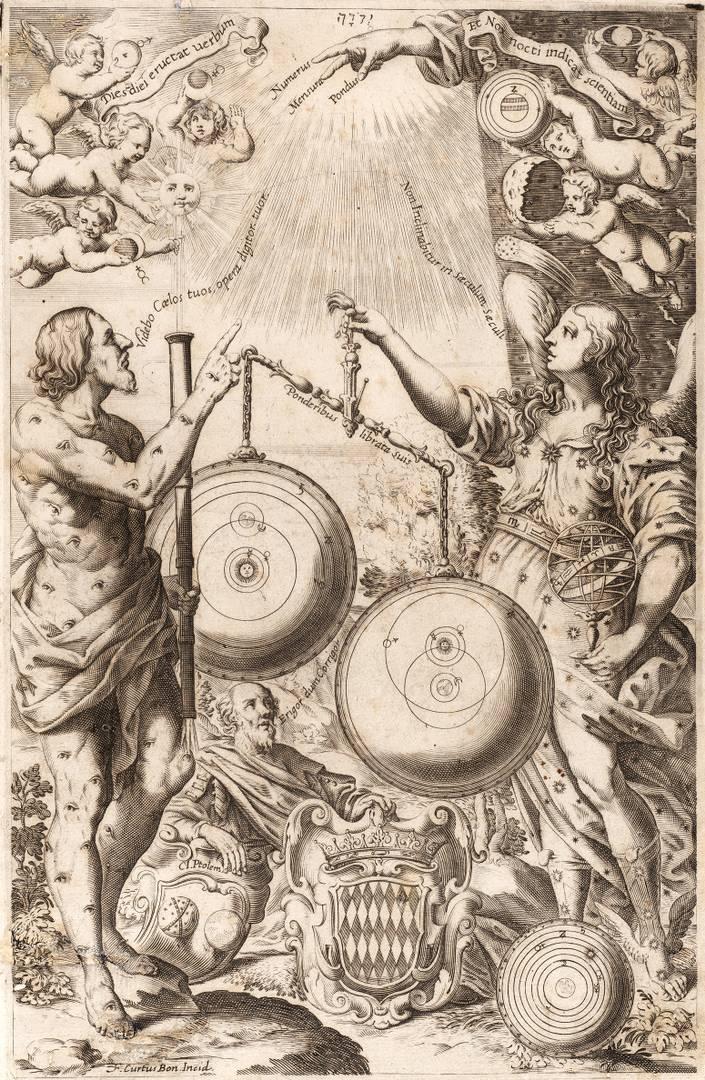 Франческо Курти. Фронтиспис «Нового Альмагеста». Мифические фигуры взвешивают астрономические теории. 1651