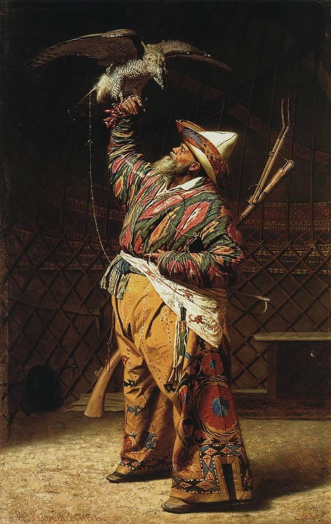 Василий Васильевич Верещагин. Богатый киргизский охотник с соколом. 1871