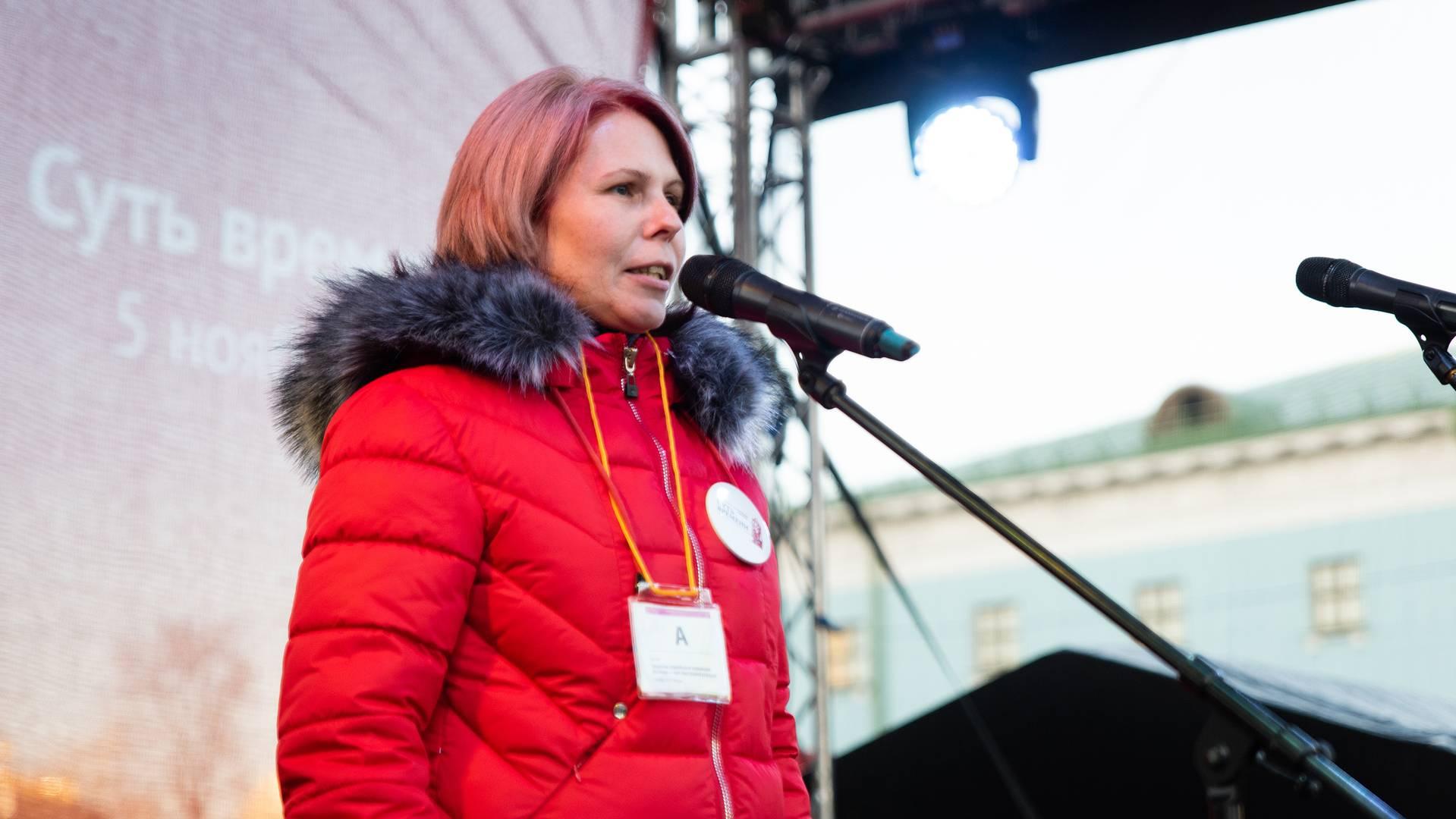 Елена Гроссман на митинге «Сути времени» в Москве, 5 ноября 2018 г.