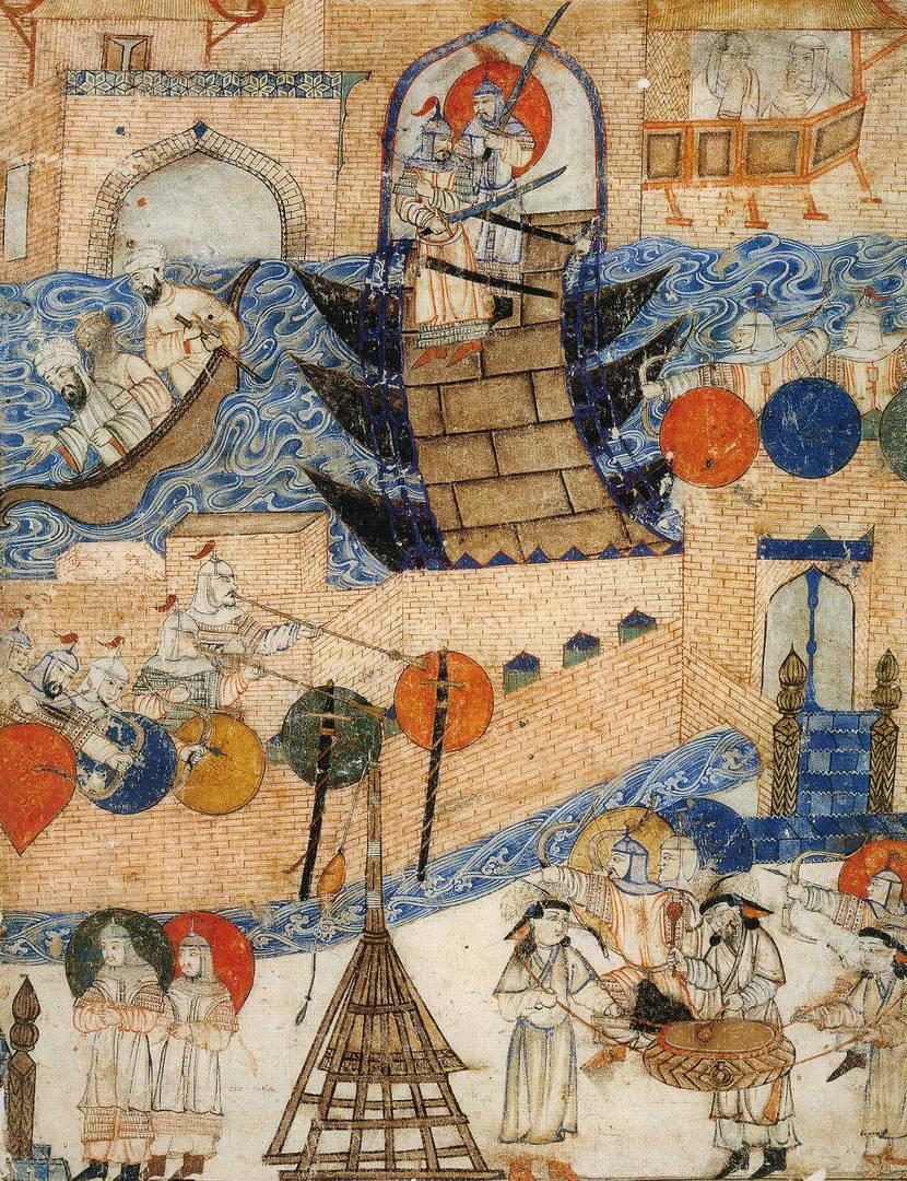 Осада Багдада монголами в 1258 г. Иллюстрация из «Сборника летописей» Рашид-ад-Дина. Начало XIV в.