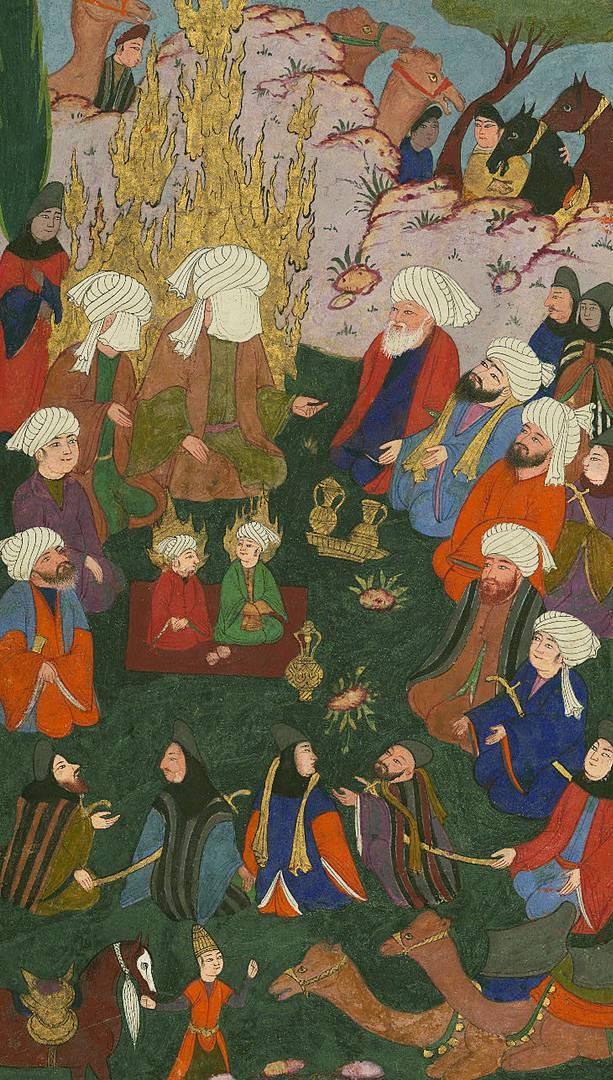 Пророк Мухаммед, Али, его сыновья Хасан и Хусейн. XVII в.