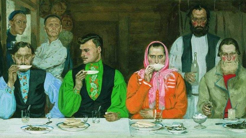 Андрей Рябушкин. Чаепитие (фрагмент). 1903