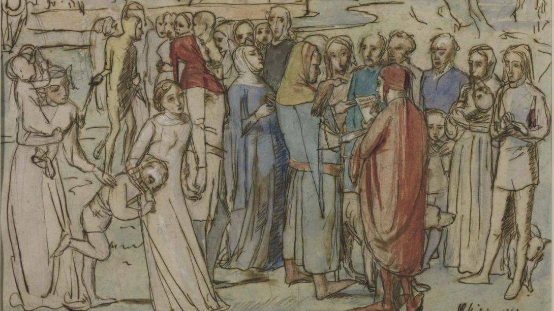 Джон Милле. Барон пересчитывает своих вассалов. 1850