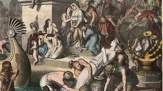 Генрих Лойтеманн. Древний Рим: разграбление Рима вандалами (фрагмент). 1866