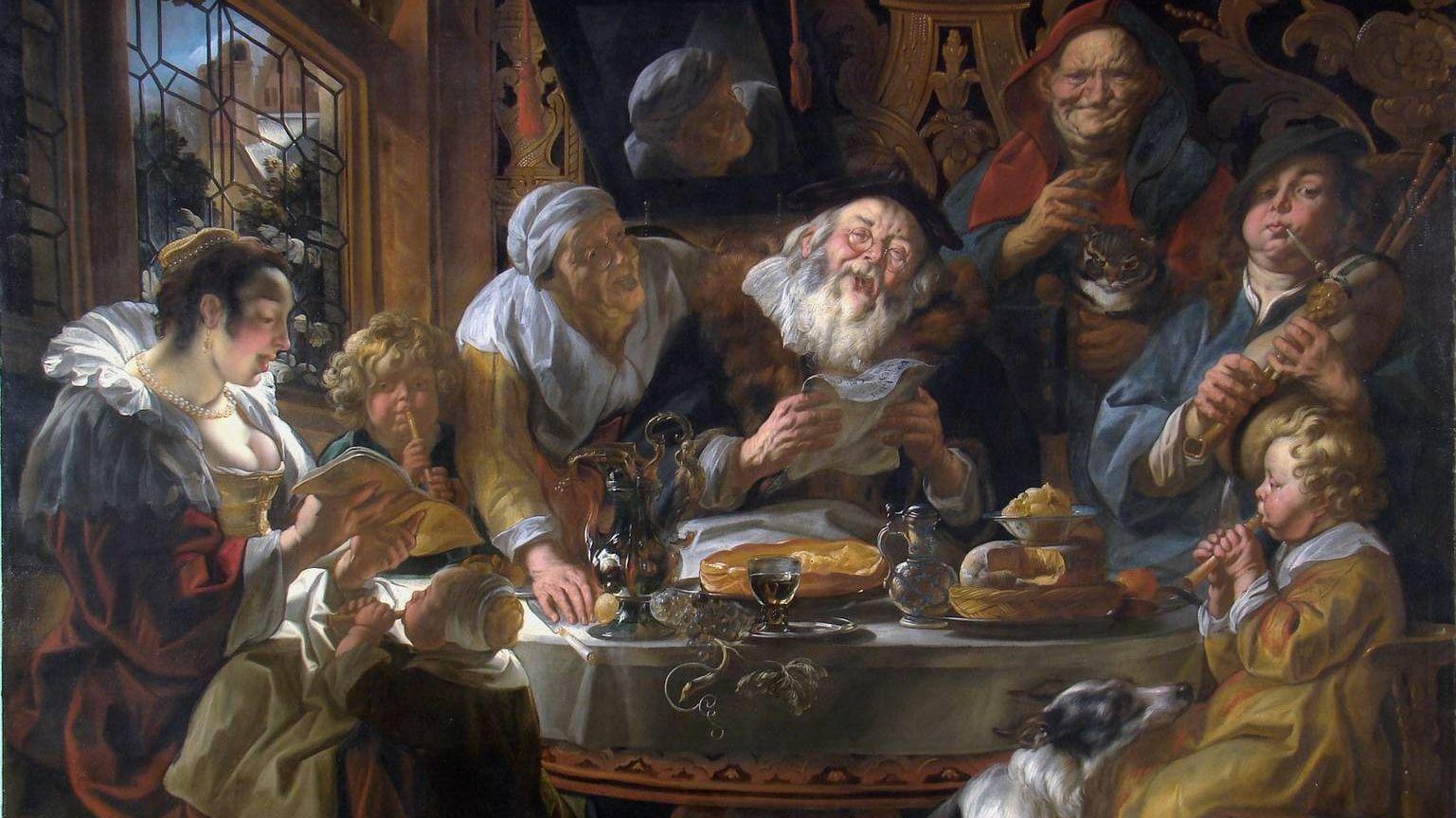 Йорданс Якоб. Старый Санг поет, молодеж играет на дудках. 17 век