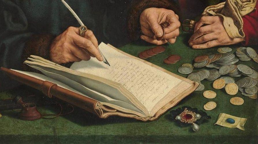 Маринус ван Реймерсвале. Сборщики податей. Фрагмент. XVI век