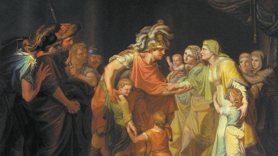 Акимов Иван Акимович. Великий князь Святослав, целующий мать и детей своих по возвращении с Дуная в Киев. 1773