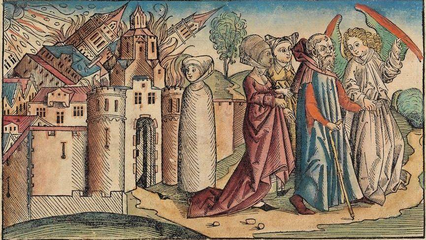 «Лот оставляет Содом», гравюра из Нюрнбергской хроники. 1493