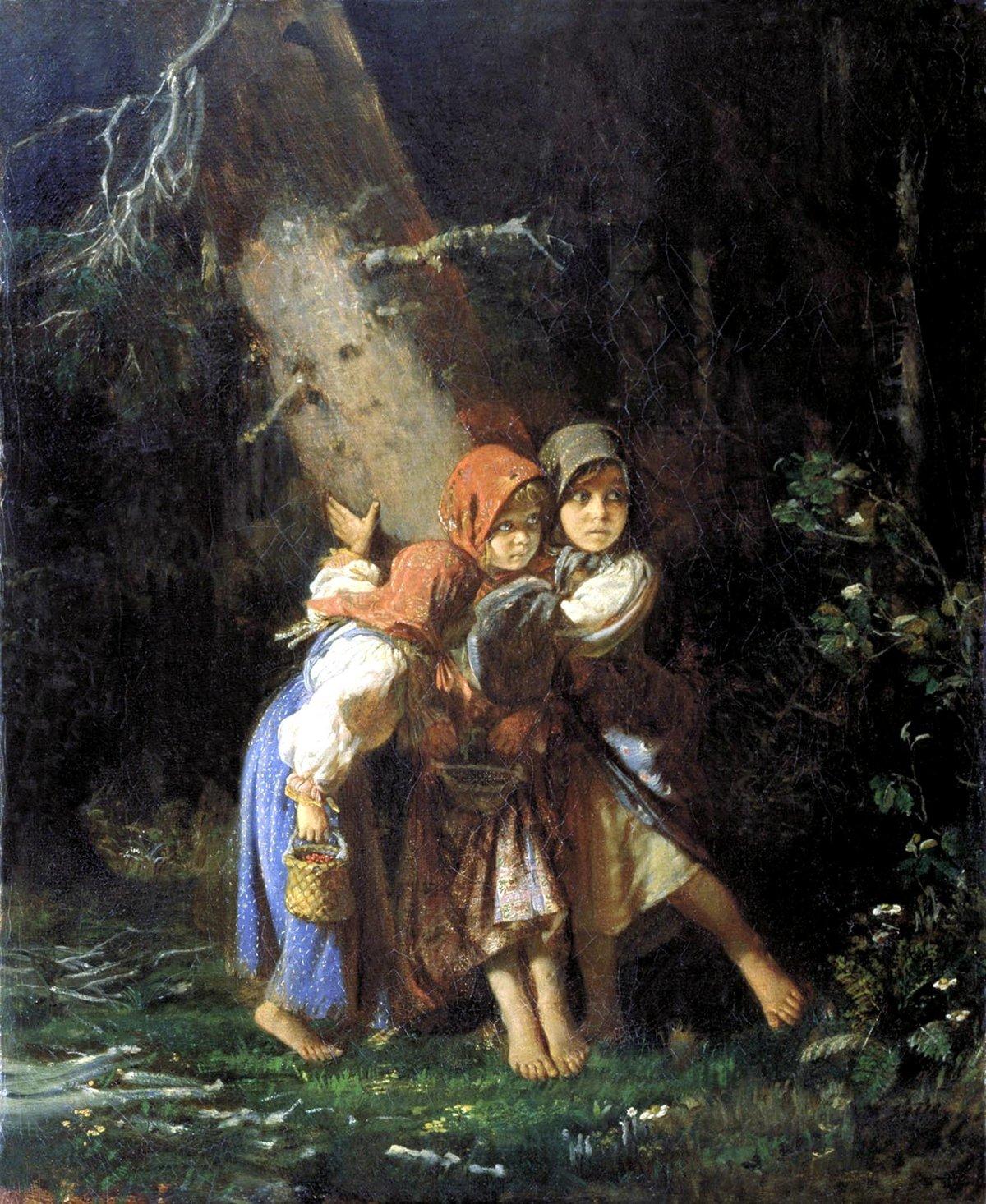 Алексей Иванович Корзухин. Крестьянские девочки в лесу