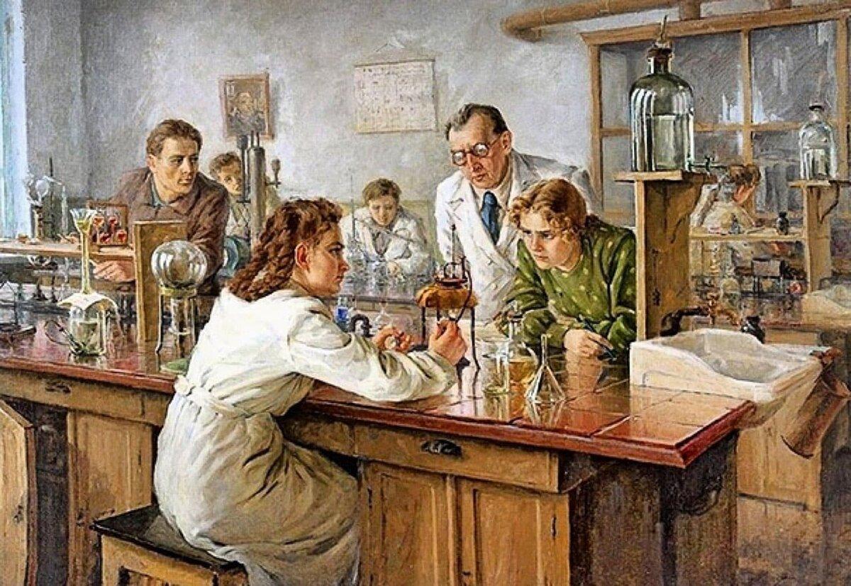 Н. Ульянов. Выполнение тестов в лаборатории. 1951