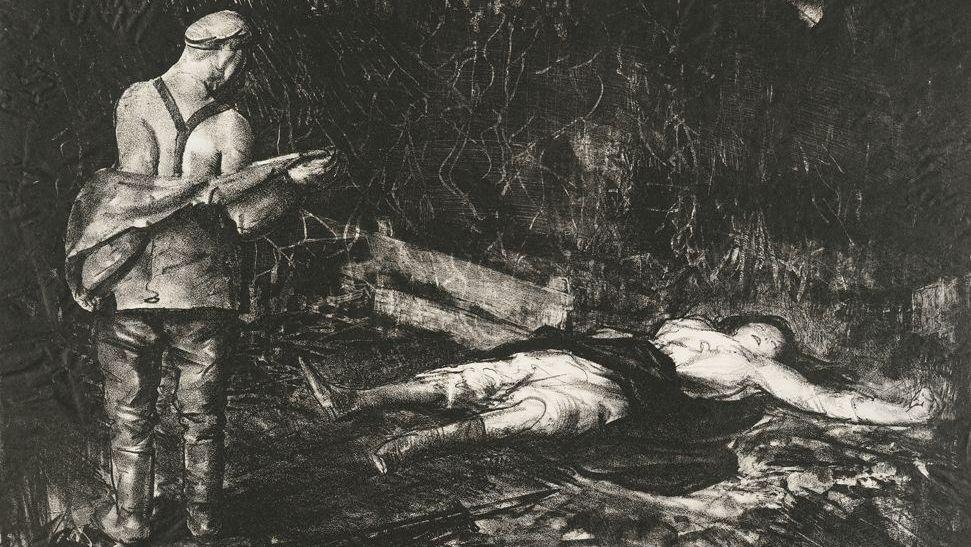 Во дворе бельгийской фермы. (Серия Война). 1918