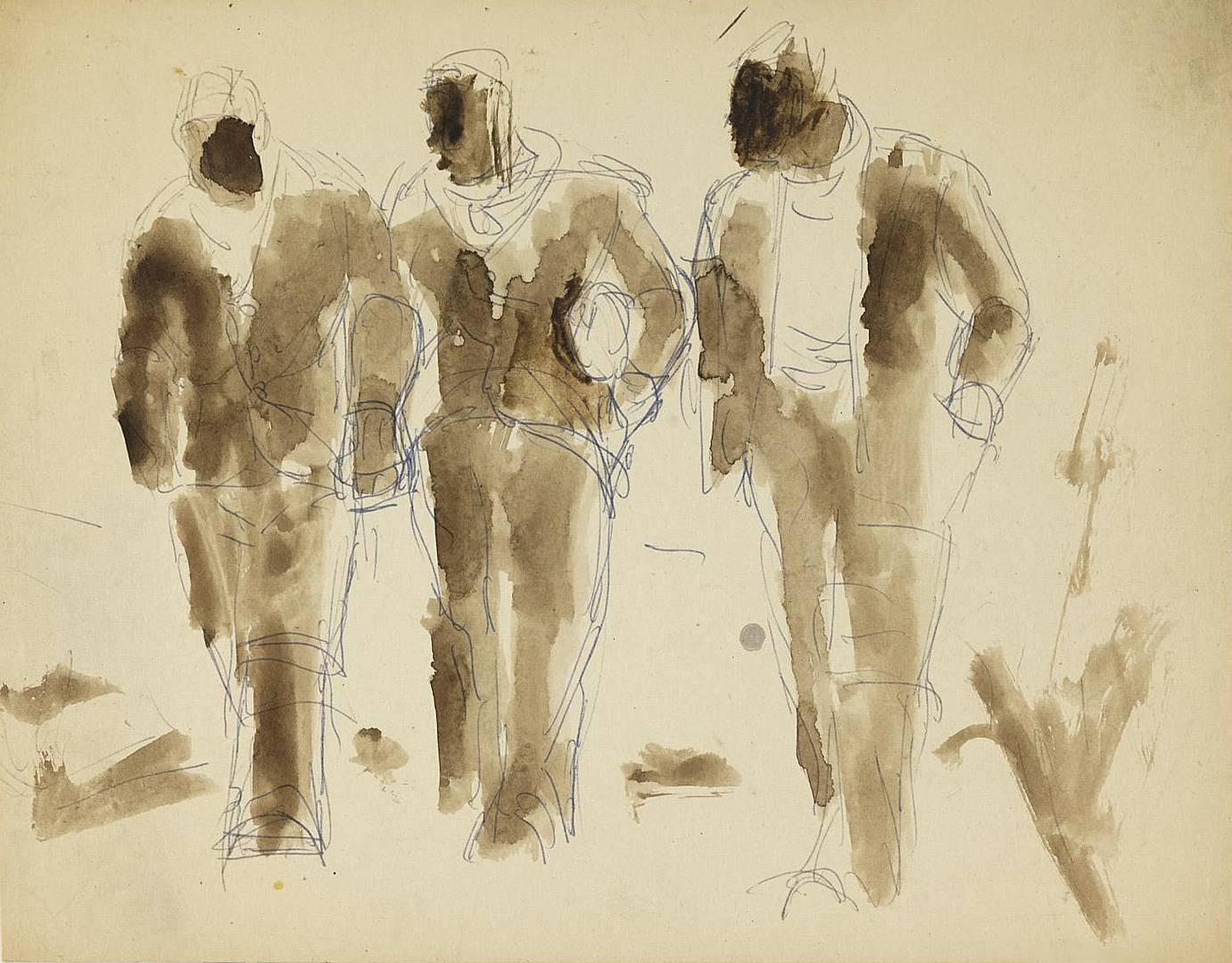 Йозеф Герман. Три шахтера по дороге домой. Эскиз. 1954–1955