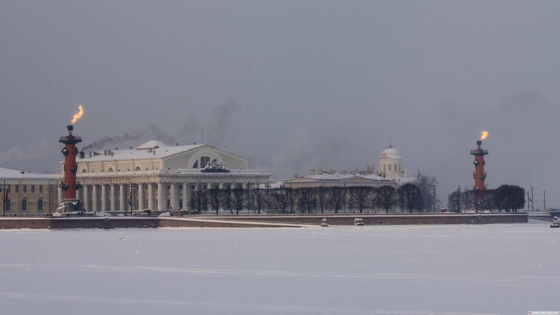 Ростральные колонны зажжены в честь 75-й годовщины полного снятия блокады Ленинграда