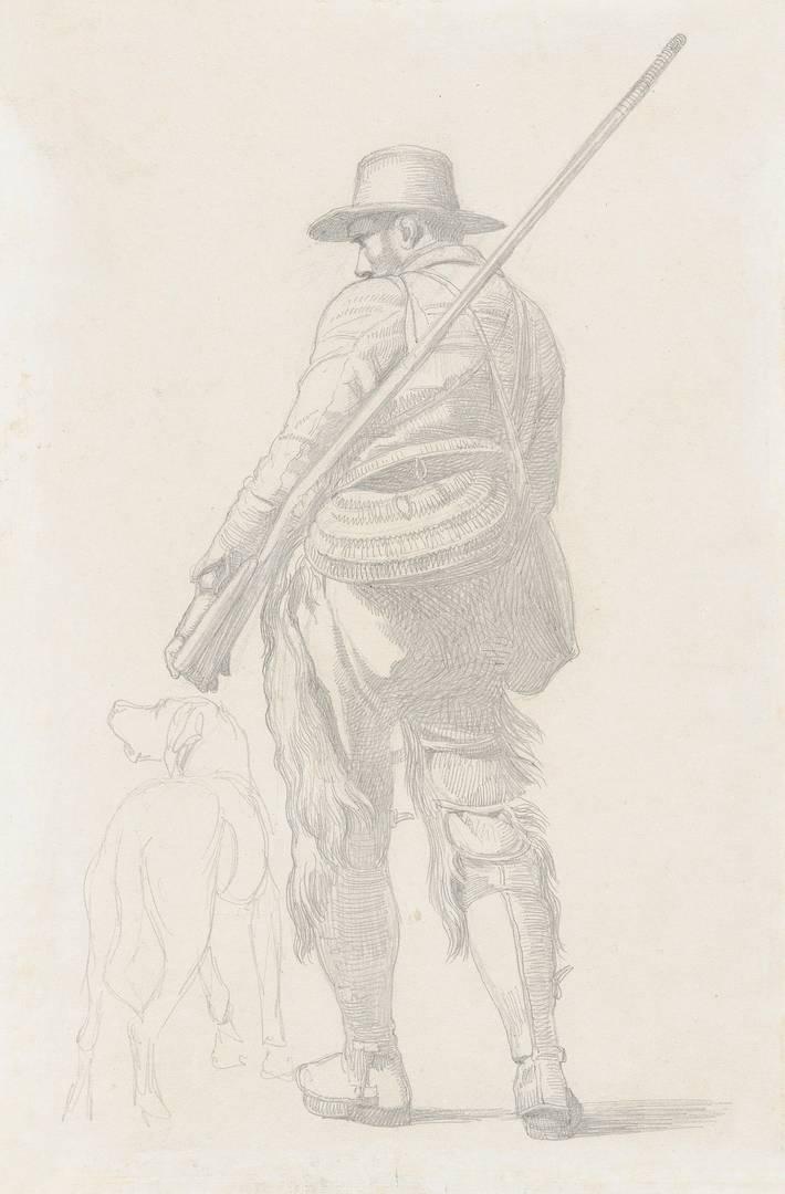 Иоганн Лундбю. Охотник с собакой. 1845