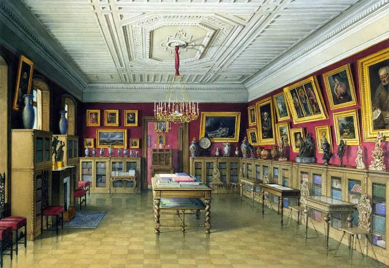 Библиотека в доме П.С.Строганова в Петербурге (акварель). 1860г.