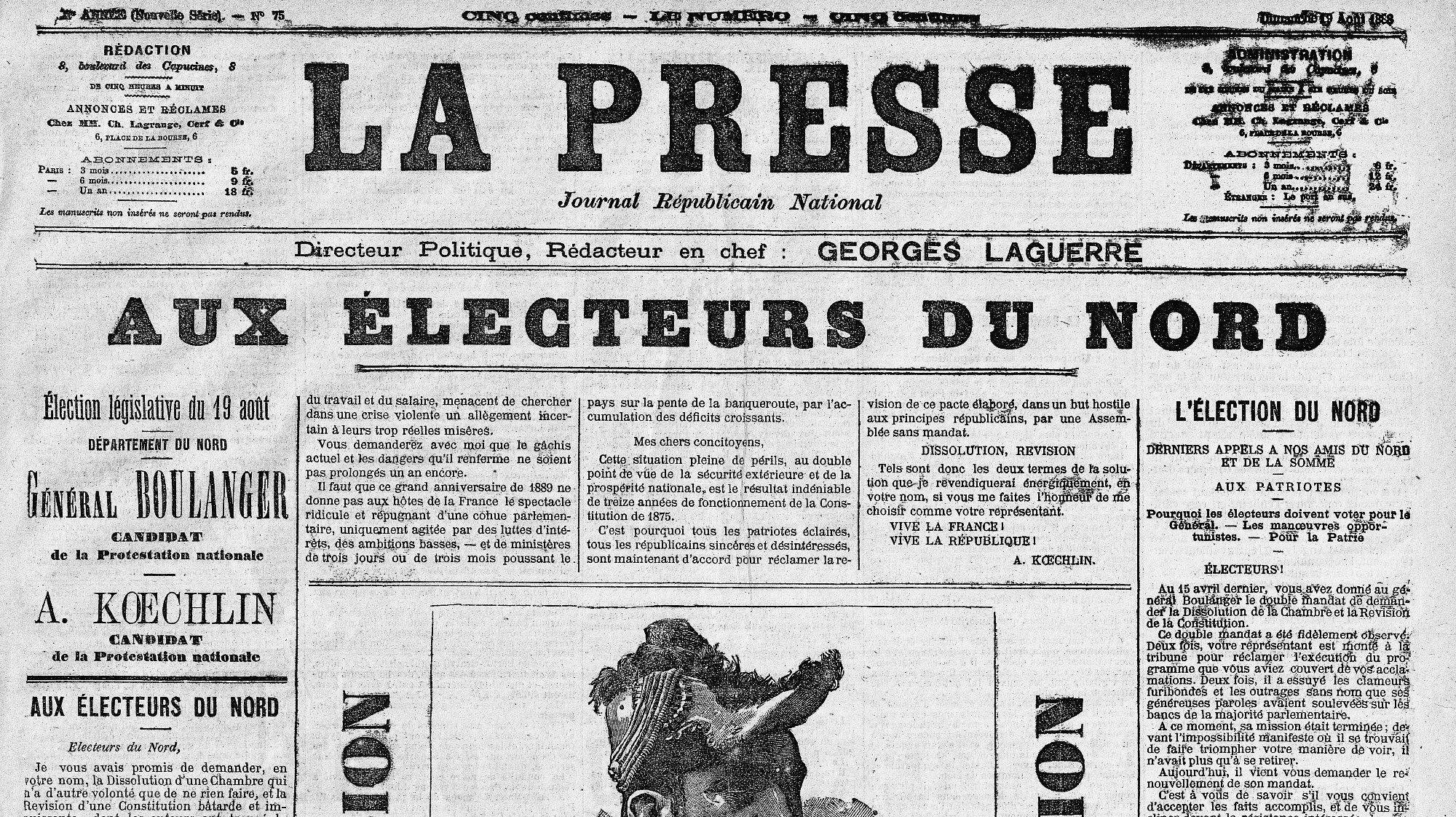 Выпуск газеты La Presse за август 1888 года