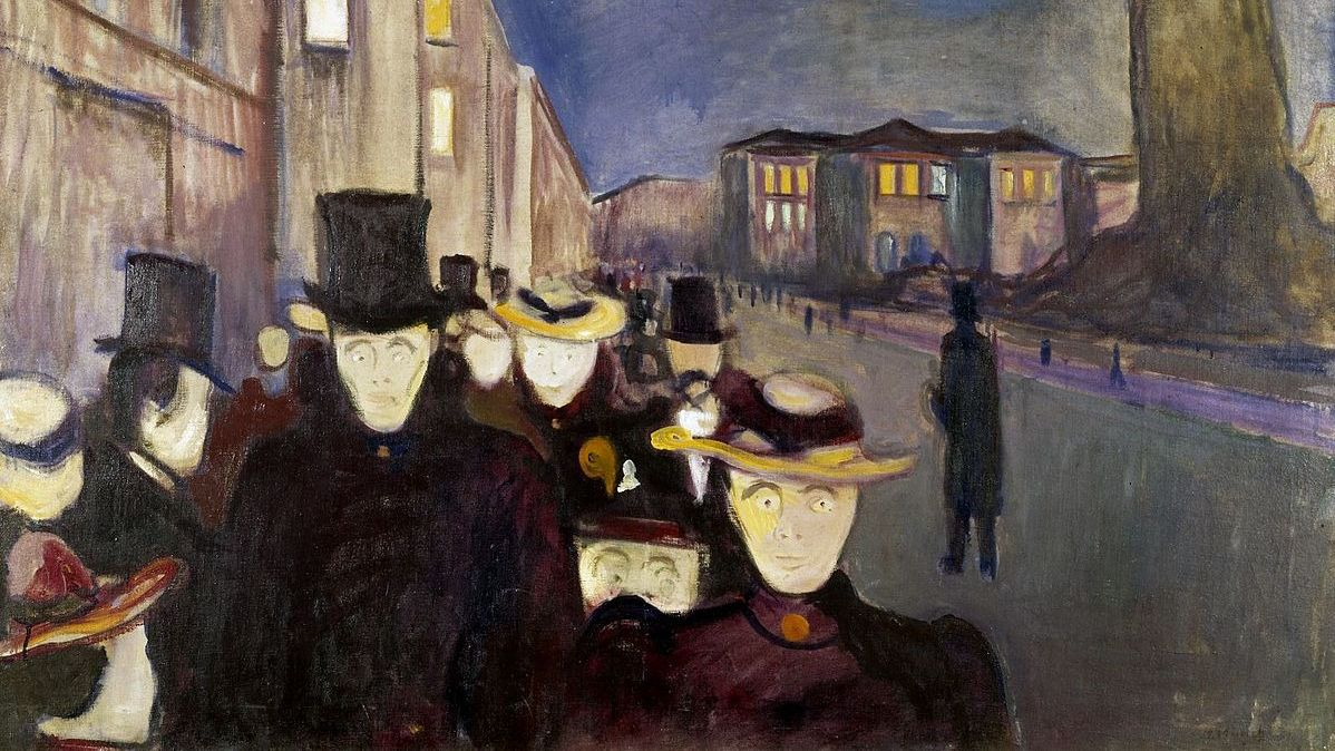Эдвард Мунк. Вечер на улице Карла Юхана (фрагмент). 1892
