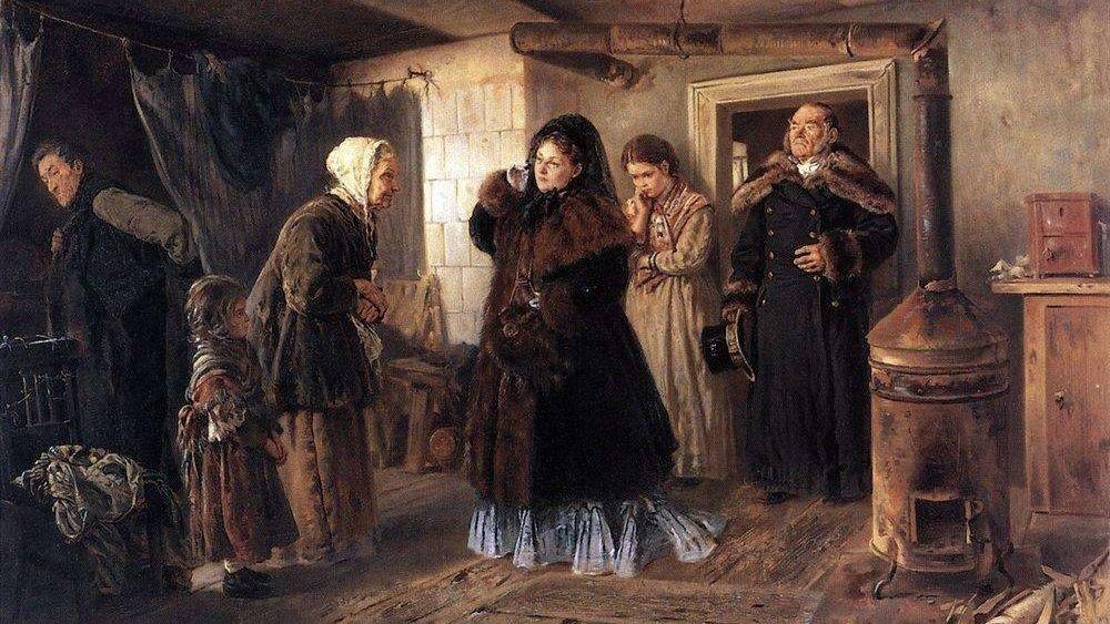 В. Е. Маковский. Посещение бедных. 1874, Третьяковская галерея, Москва