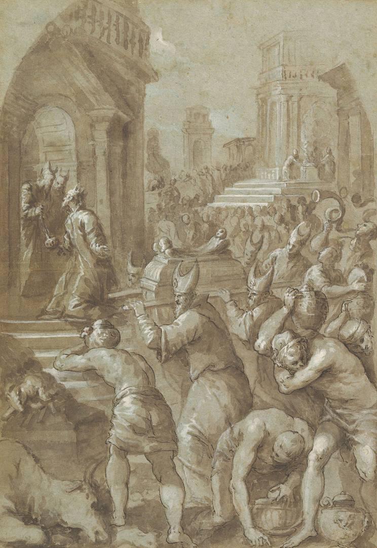 Андреа Вичентино. Царь Соломон наблюдает за тем, как Ковчег Завета переносят в Храм. 1604