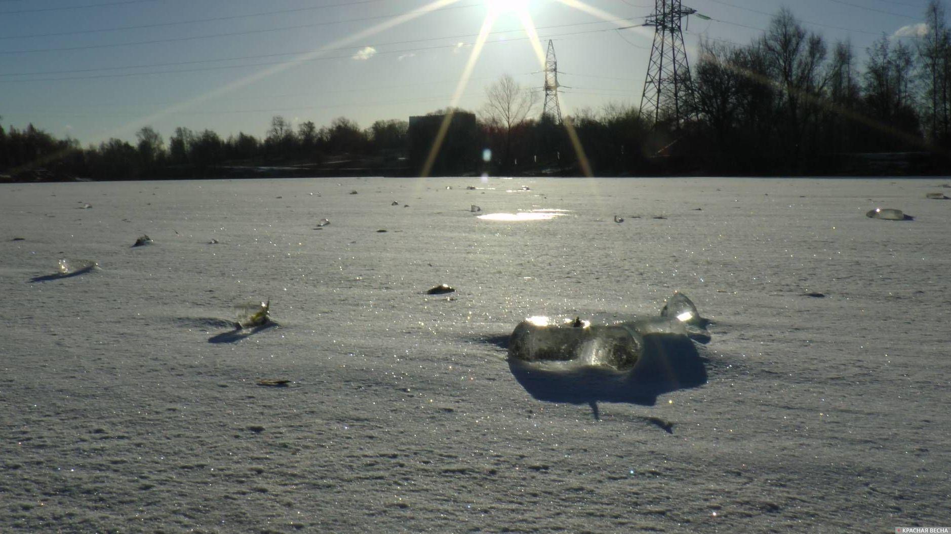 Замерзший пруд. Москва.