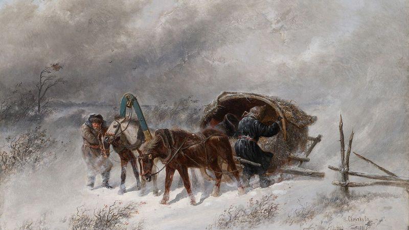 Николай Сверчков. Ямская тройка застигнутая метелью. 1881