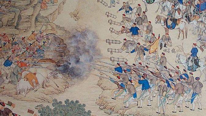 Сражение с цинских войск с уйгурами у озера Ешилькуль в 1759 г.  Фрагмент цинской картины середины XVIII в.