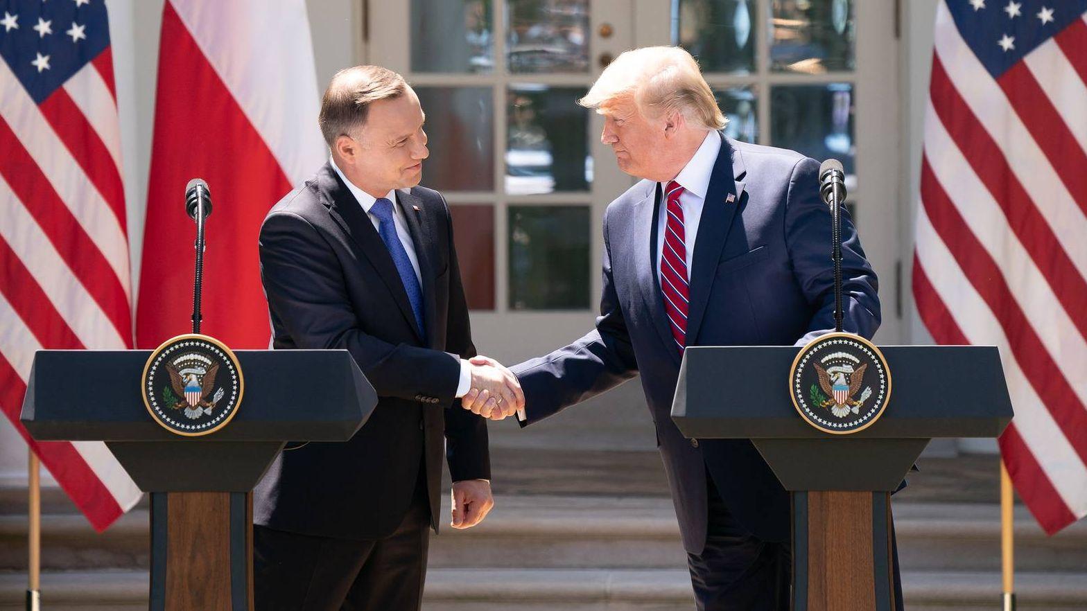 Дональд Трамп с польским президентом Анджеем Дудой