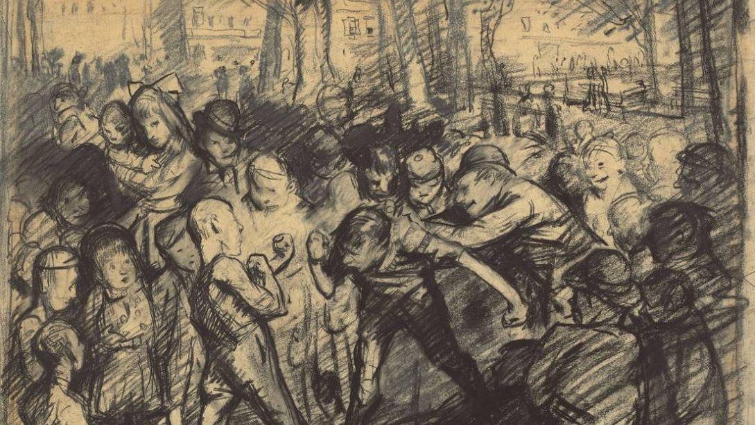 Джордж Уэсли Беллоуз. Уличная драка. 1907 год
