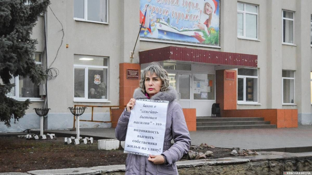 Пикет против закона о семейно-бытовом насилии. г. Семилуки (Воронежская область). 15 дек 2019 года