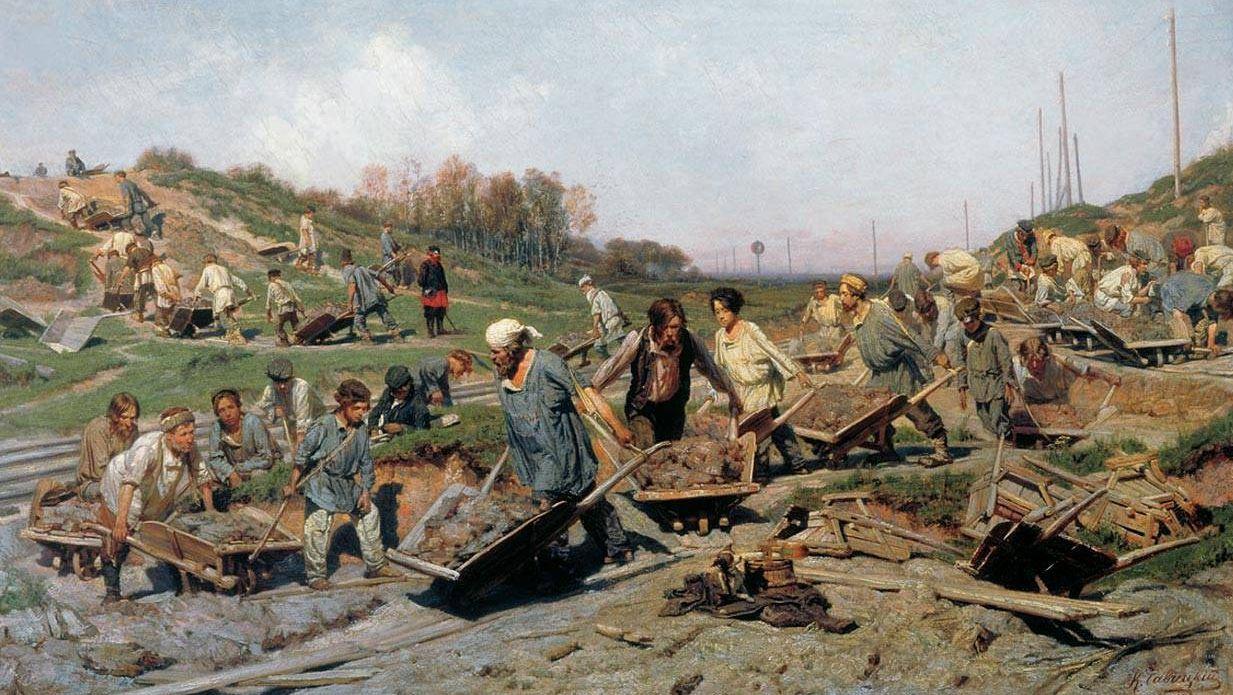 К.А. Савицкий. Ремонтные работы на железной дороге. 1874