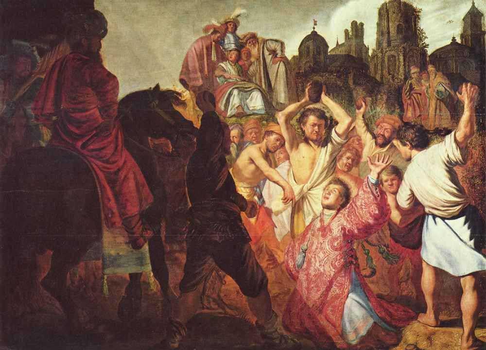 Рембрандт Харменс ван Рейн. Побиение камнями святого Стефана. 1625
