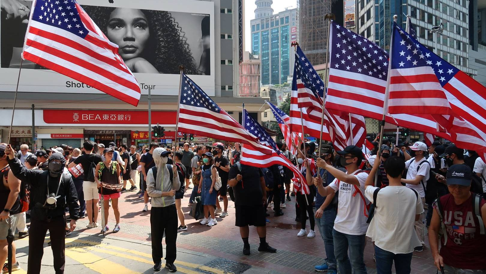 Флаги США на протестах в Гонконге - 15 сентября 2019