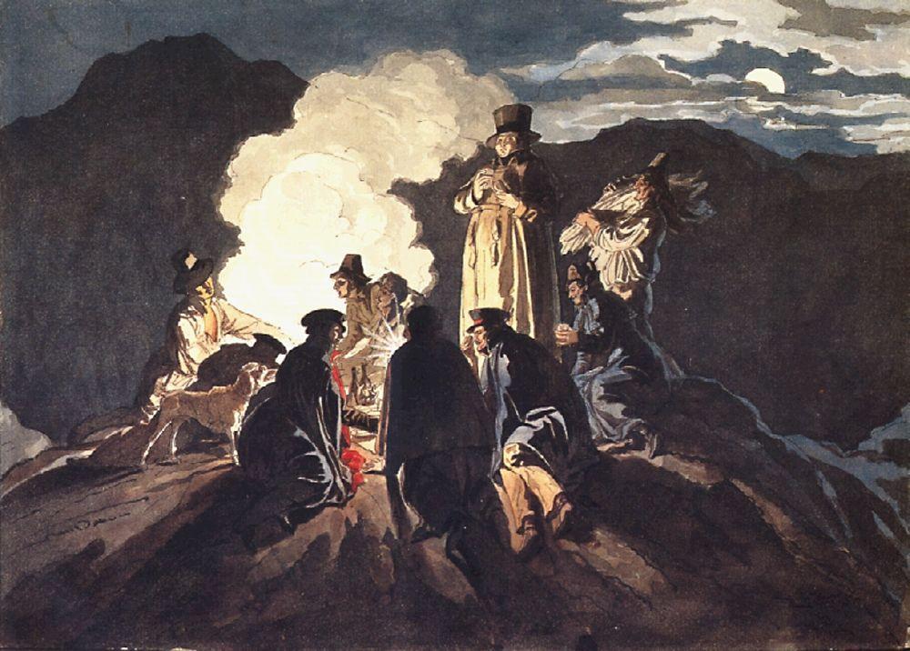 Карл Брюллов. Бивуак на кратере, Везувий. 1824