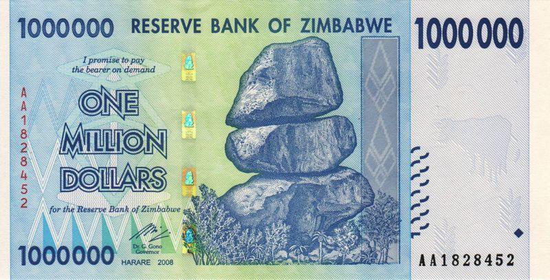 $1 000 000 Зимбабве 2008 года, аверс